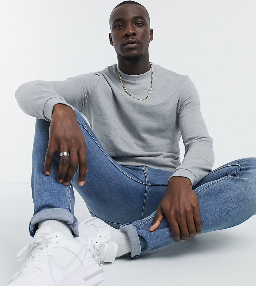 ASOS DESIGN Tall organic sweatshirt in grey marl