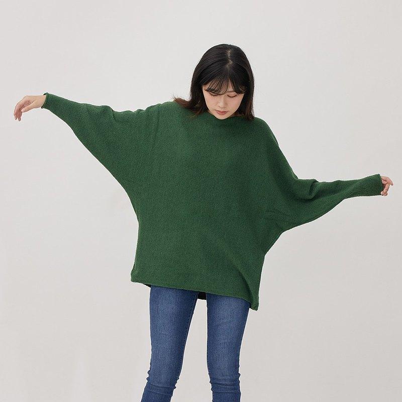 May一字領飛鼠袖針織毛衣/葉綠
