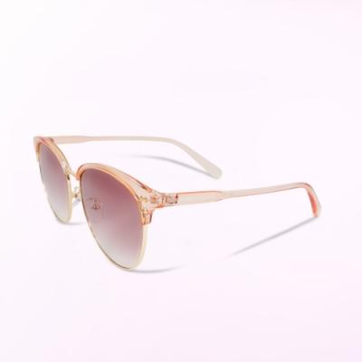 ALEGANT透視粉色漸層棕眉框墨鏡-UV400太陽眼鏡-人魚公主的初吻