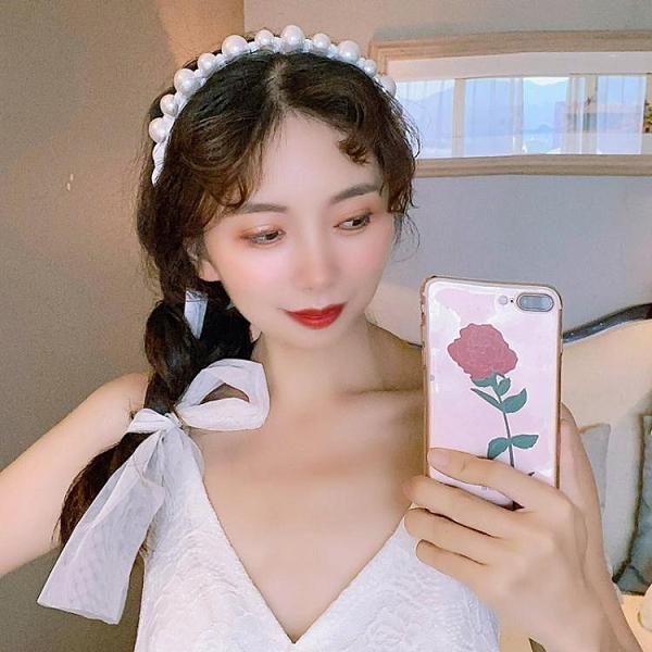 網紅復古宮廷風蕾絲珍珠繫帶蝴蝶結髮箍飄帶頭箍仙女髮帶髮卡超仙 韓國時尚週
