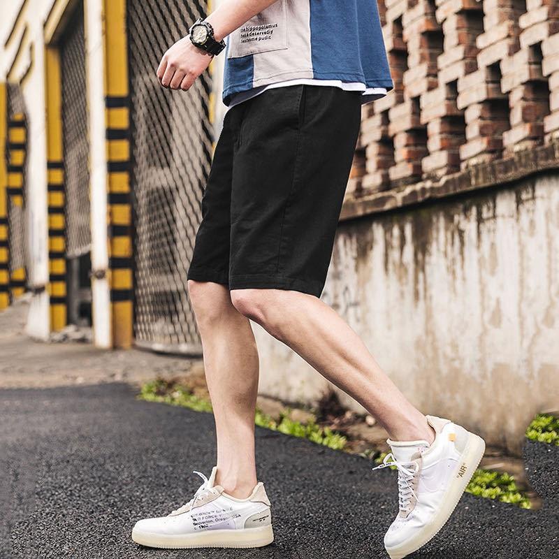 夏季新款寬松棉短褲男士日系短褲潮流潮牌休閑純色男士下裝五分褲