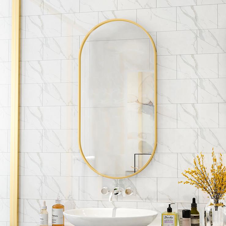 50*100cm 玄關鏡 掛鏡 裝飾鏡 北歐橢圓形衛生間鏡子壁掛長橢圓浴室鏡半圓創意梳妝鏡洗手間鏡子