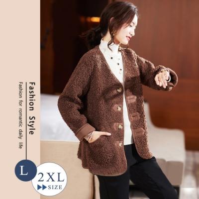 悠美學-韓系中大碼厚羊羔絨保暖外套-2色(L-2XL)