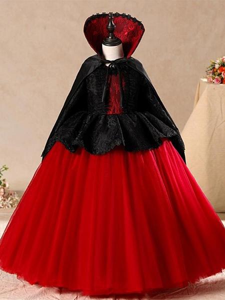 聖誕節兒童服裝女童禮服公主裙舞會cos吸血鬼黑色惡魔女巫連衣裙伊衫風尚