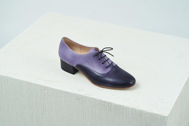 【Online Exclusive】HTHREE 3.4圓頭牛津跟鞋 / 丁香紫