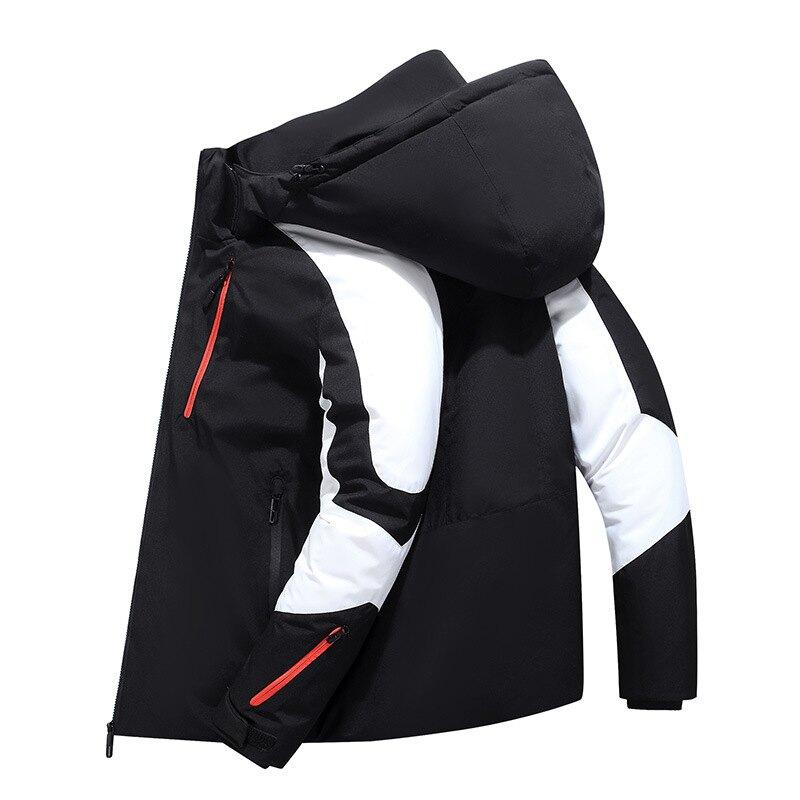 羽絨外套白鴨絨夾克-連帽運動休閒短款男外套2色73zd16【獨家進口】【米蘭精品】
