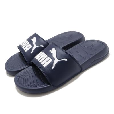 Puma 拖鞋 Popcat 20 套腳 穿搭 男女鞋 基本款 簡約 輕便 大logo 情侶款 藍 白 37227910