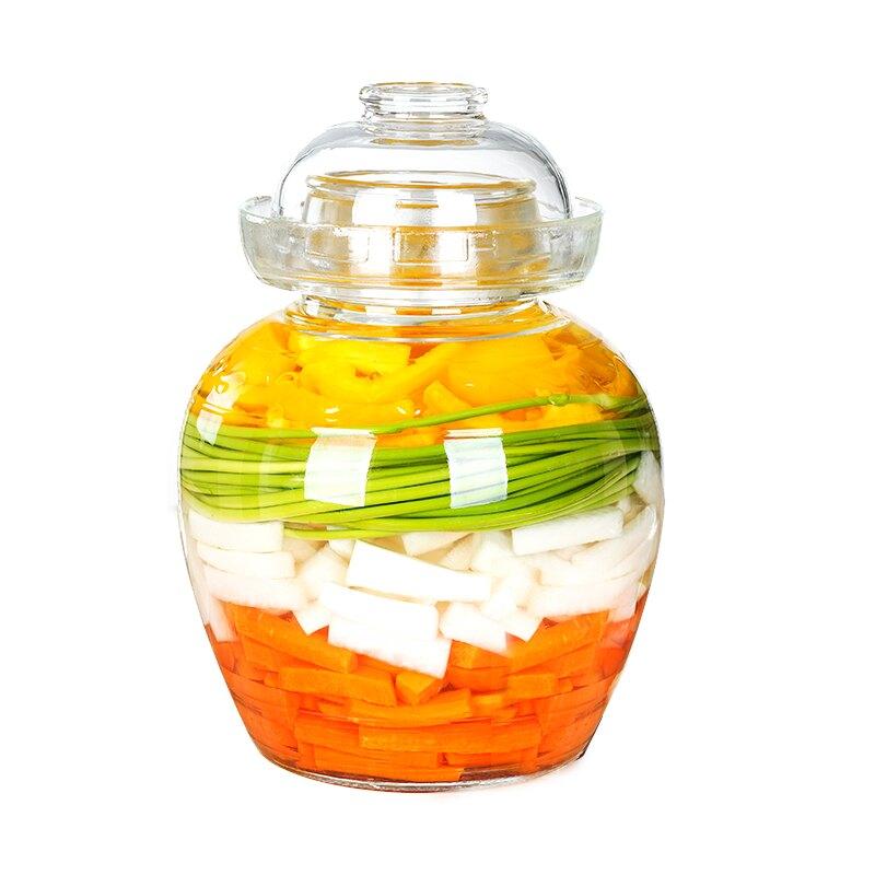泡菜潭子  泡菜壇子玻璃加厚家用腌菜酸菜日式泡菜壇透明大咸菜罐密封厚 OB9709