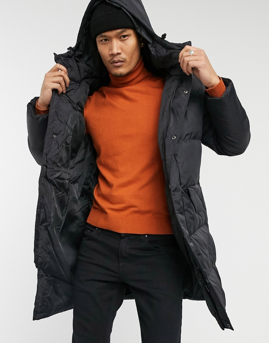 Brave Soul padded hooded longline jacket in black