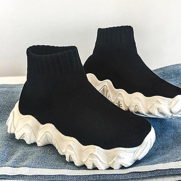 X-INGCHI 女款黑色厚底襪套鞋-NO.X0283