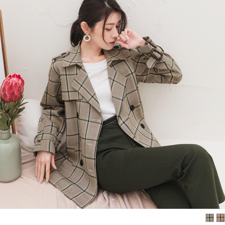 雙排釦前口袋格紋短版風衣外套