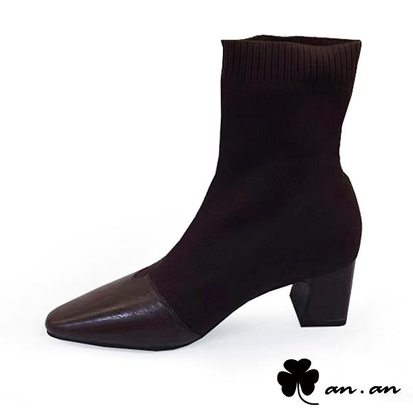 短靴 極致迷人針織拼接尖頭襪靴(咖)* an.an【18-F003-2co】【現貨】