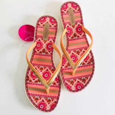 **Grendha**巴西夾腳拖鞋(華麗歐亞圖紋印花 夾腳平底拖鞋) 橘色