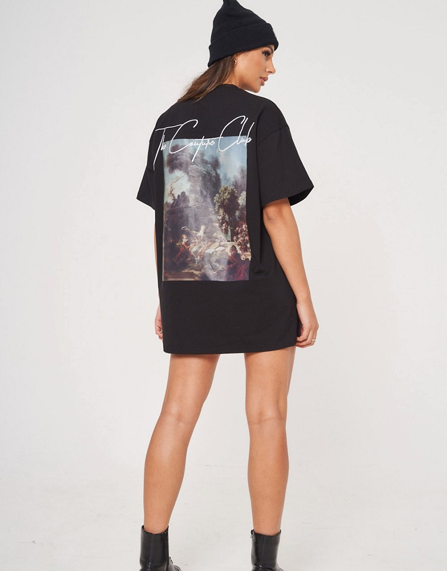 The Couture Club oversized t-shirt dress with graphic print in black