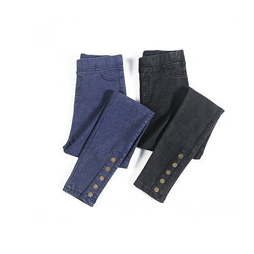 長褲 中大尺碼褲子S-5XL高腰彈力黑色大碼仿牛仔女長褲小腳顯瘦外穿打底褲.4F060A.6891.胖胖美依