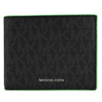 MICHAEL KORS MK COOPER滿版防刮對開短夾-綠