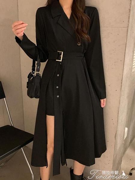長袖流行洋裝 秋冬新款黑色西裝領設計感小眾長裙收腰顯瘦氣質連衣裙女神范 新年禮物