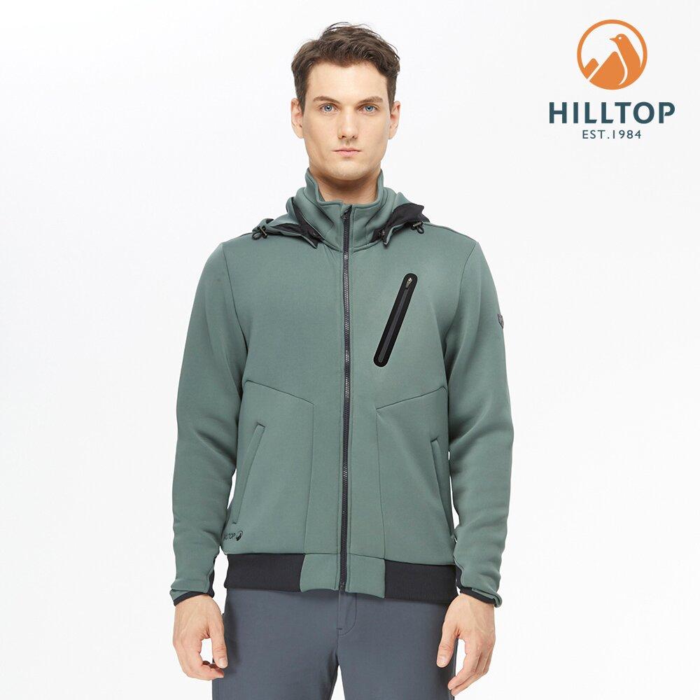 【hilltop山頂鳥】男款POLYGIENE抗菌保暖連帽刷毛夾克H24MK3冷杉綠