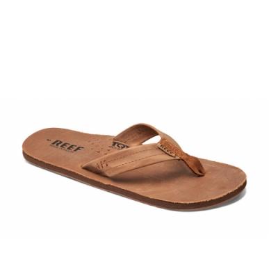 REEF 拖鞋 真皮防水 夾腳人字 男款 咖啡色 RF002611BZB