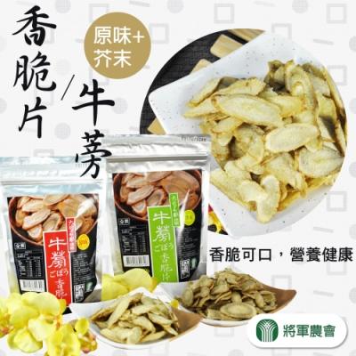 【將軍農會】牛蒡香脆片-原味+芥末 (100g / 包  x2包各一)