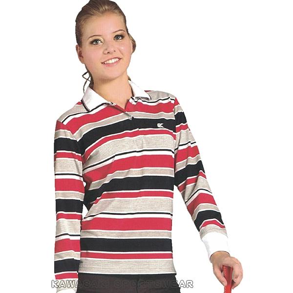 【KAWASAKI】女版運動休閒電腦條紋長POLO衫(紅黑條紋)#KW2219A