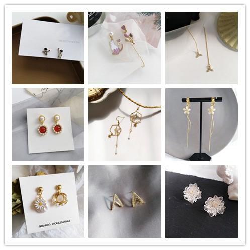 s925銀針形耳環韓國鋯石水晶復古飾品女時尚古著ab風格耳環聚會配飾