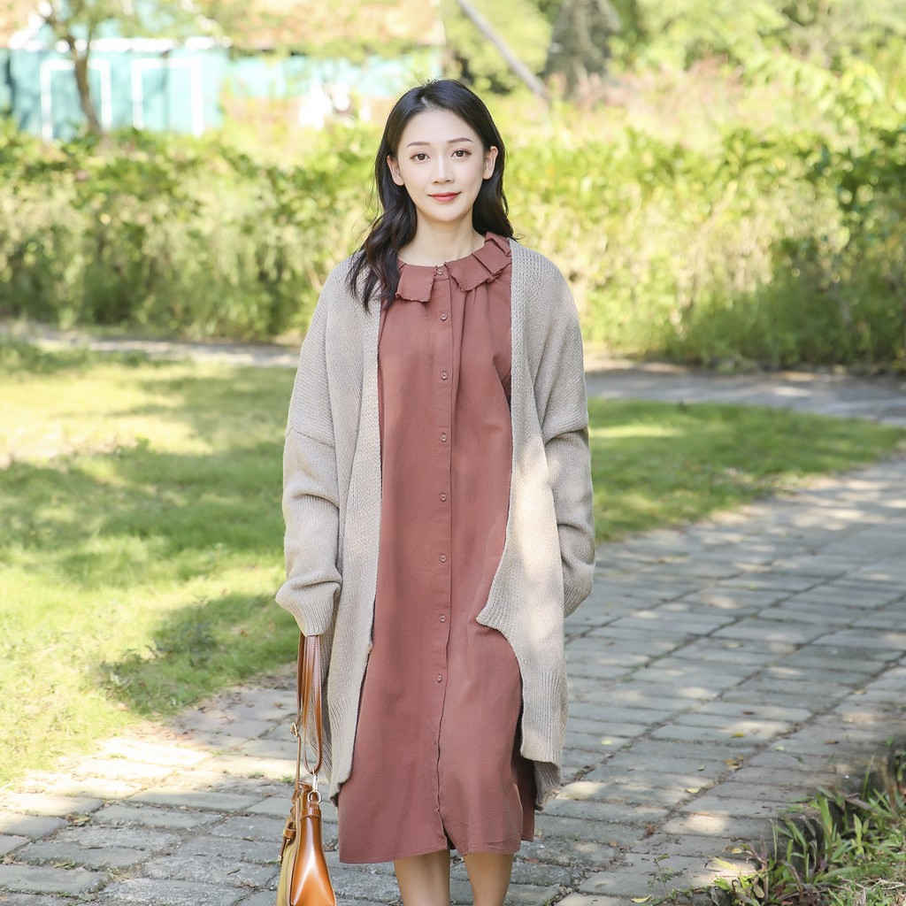 DoisQueen 荷葉領排釦亞麻洋裝 孕婦裝寬鬆日系女裝