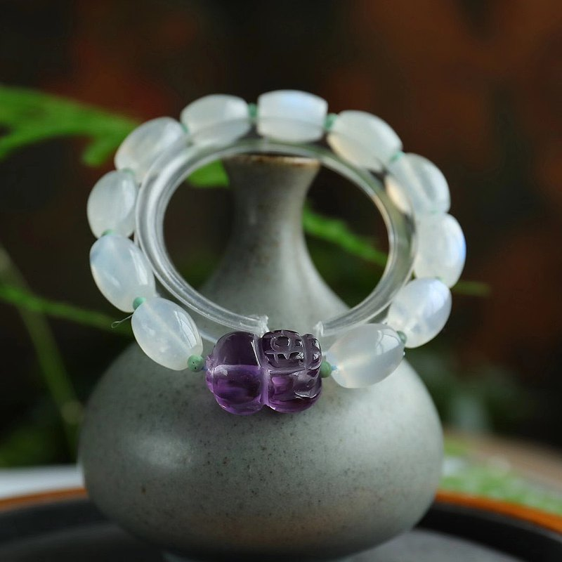 極品天然月光石桶珠單圈手鏈 顆顆帶藍光 紫水晶貔貅 上手顯膚色