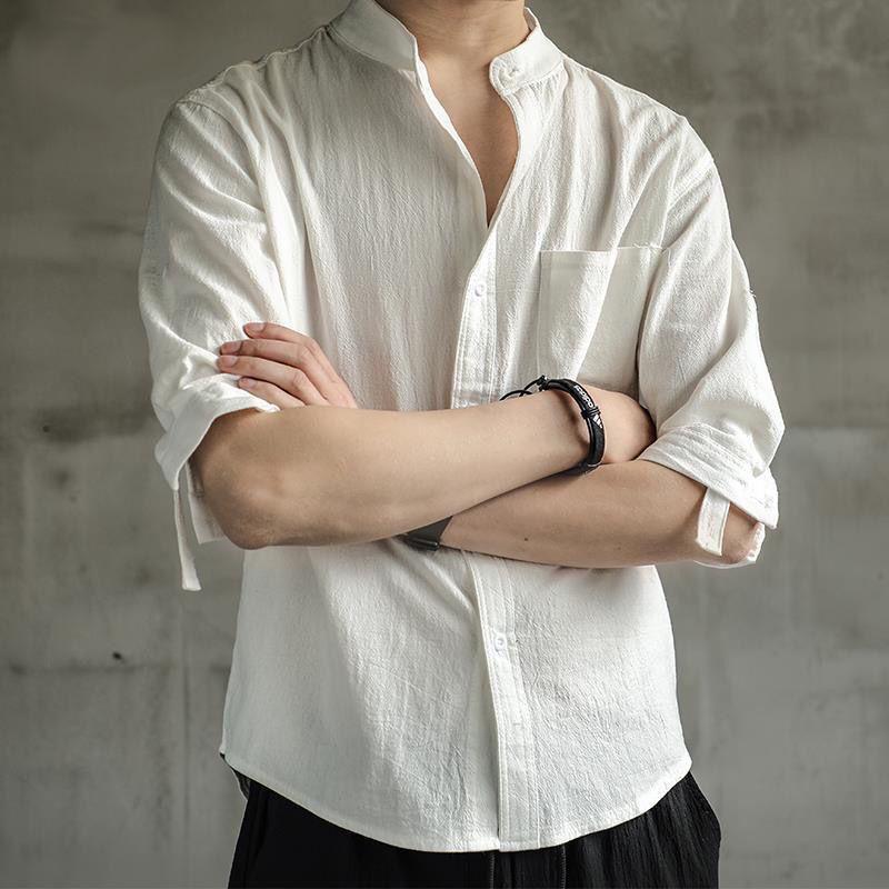 男生衣著 亞麻襯衫男 短袖襯衣 寬鬆大碼 男裝 中國風 棉麻 半袖男士休閒薄外套 上衣 czT8