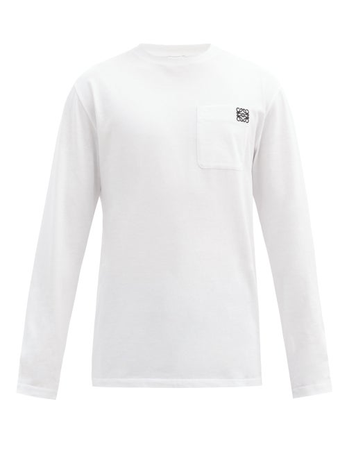 Loewe - Anagram Patch-pocket Cotton-jersey T-shirt - Mens - White