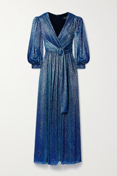 PatBO - 水晶缀饰缩褶金属感金属丝面料礼服 - 蓝色 - US0