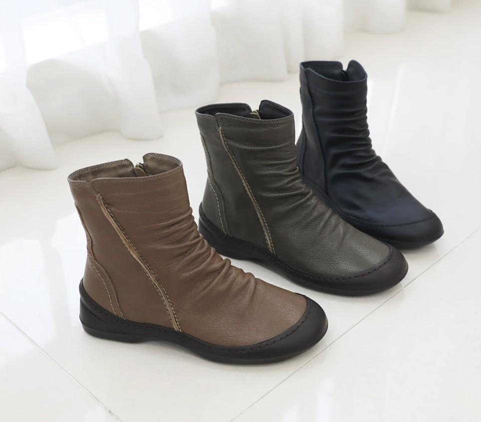 [Jaysh] 手工鞋 天然羊皮  短靴子 5cm跟 棕色