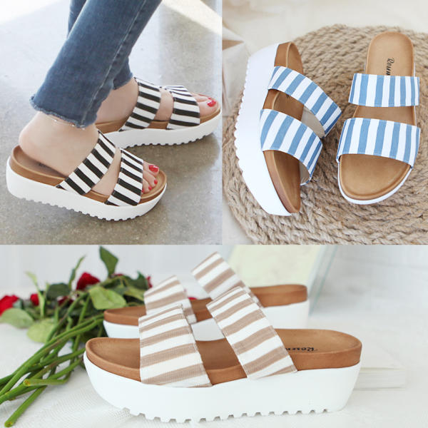 [renoma] 女性涼鞋 夏季 辦公室 坡跟 厚底 藍色