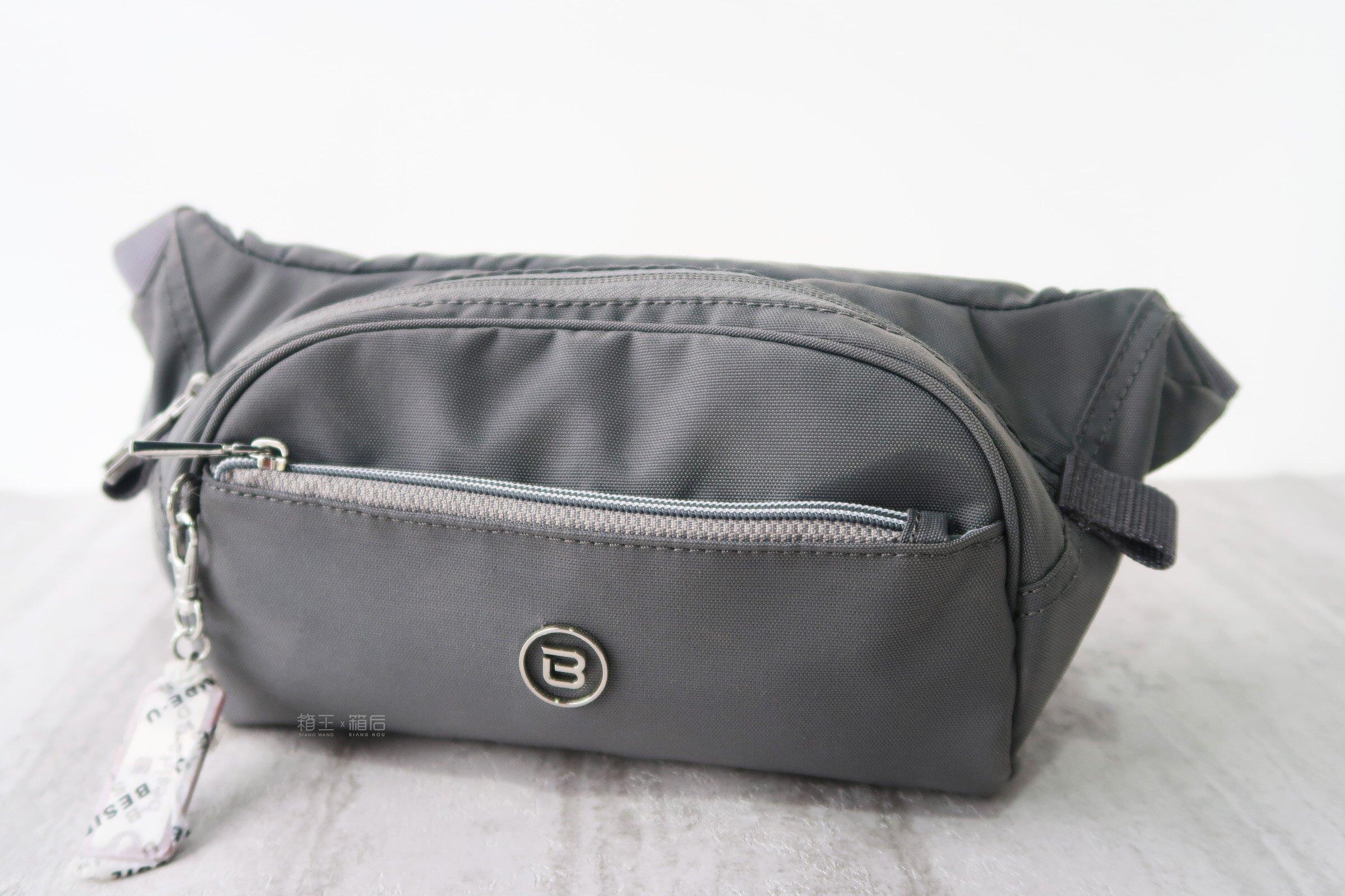 BESIDE-U 超輕 多夾層 腰包 防盜包 胸包 RFID防盜 BFYA48 (灰/藍)