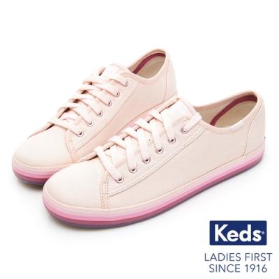 Keds KICKSTART 繽紛彩虹綁帶帆布鞋-粉