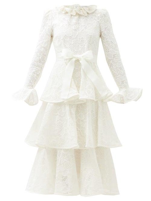 Zimmermann - Lovestruck Tiered Cotton-lace Dress - Womens - White