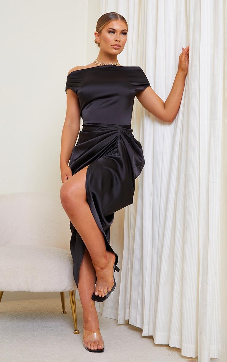 Black Satin Off The Shoulder Draped Skirt Midi Dress