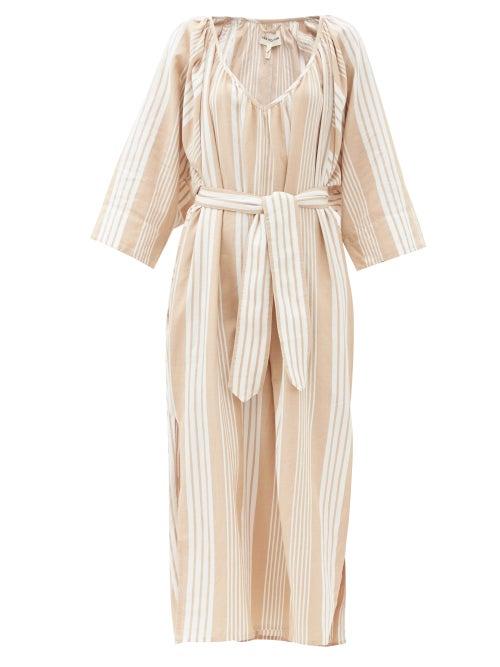 Mara Hoffman - Luz Gathered V-neck Tencel-blend Midi Dress - Womens - Beige Stripe