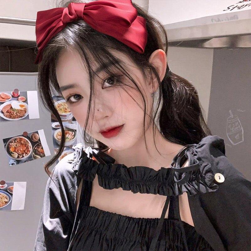 韓國甜美可愛發箍純色緞面大蝴蝶結頭飾網紅百搭外出頭箍發卡發飾