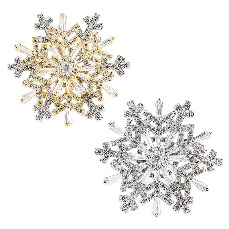 Inf閃亮的可旋轉立方鋯石聖誕雪花戒指打開可調配件