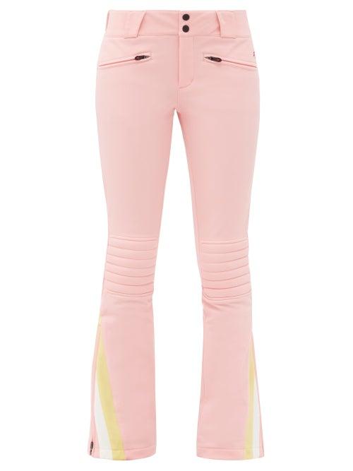 Perfect Moment - Chevron-cuff Soft-shell Ski Trousers - Womens - Pink