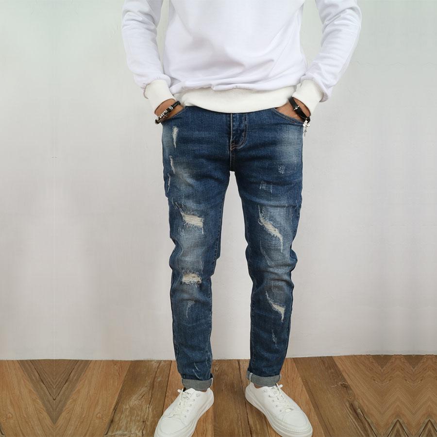 刷色破損造型.彈性牛仔褲