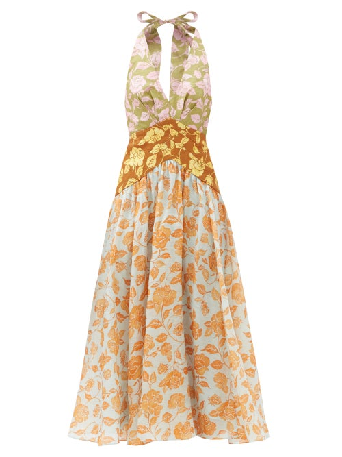Zimmermann - Lovestruck Cutout-back Floral-print Midi Dress - Womens - Multi