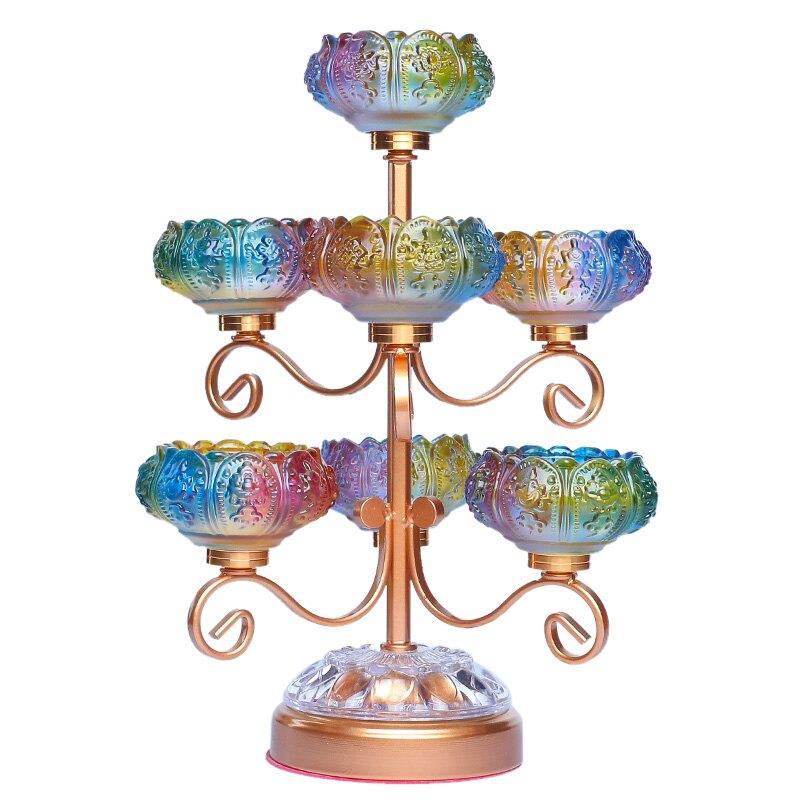 琉璃燈架供佛燈家用七星蓮花燭台擺件供佛前長明燈七彩酥油燈燈座