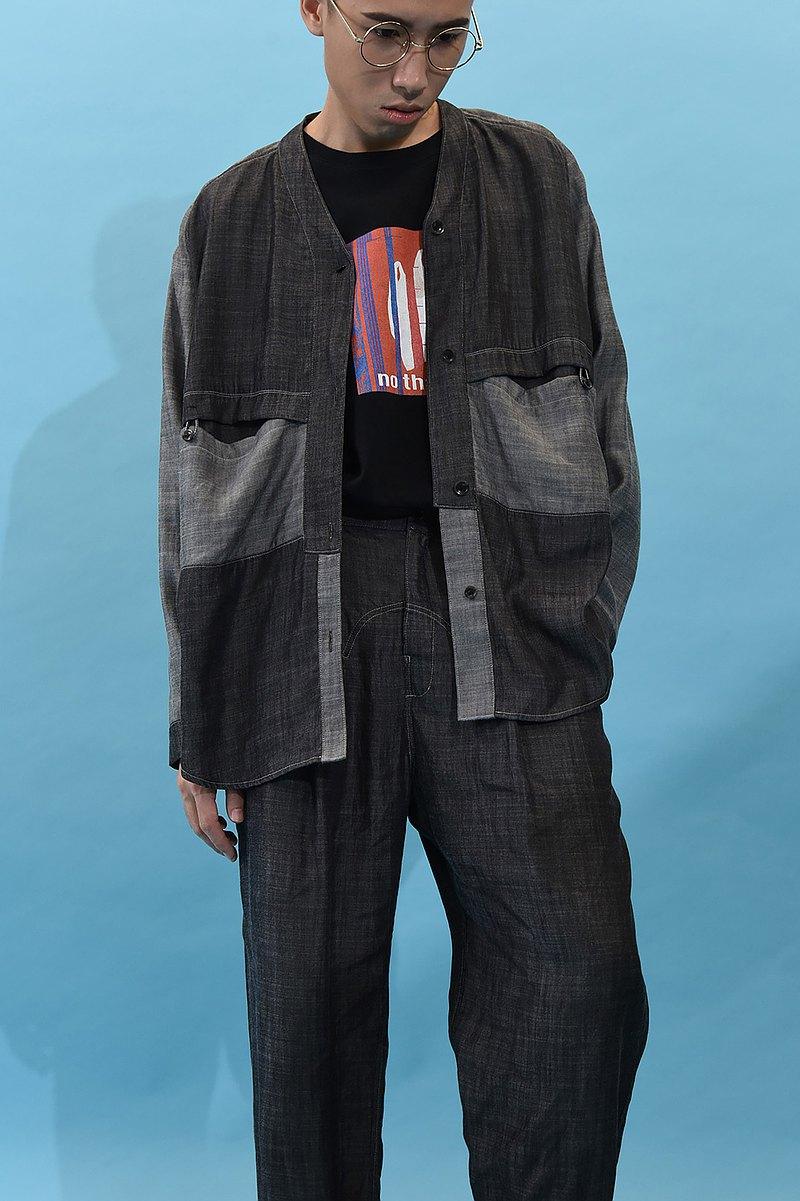 雙色丹寧日式領襯衫