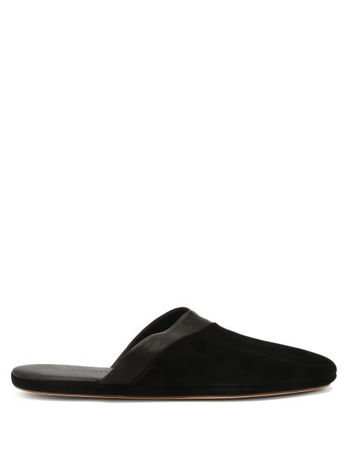 John Lobb - Knighton Leather-trimmed Suede Slippers - Mens - Black