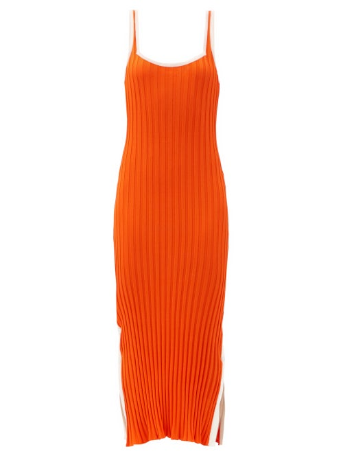 Solid & Striped - The Kimberly Side-slit Ribbed-jersey Midi Dress - Womens - Orange White