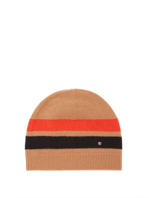 Burberry - Logo-plaque Icon-stripe Merino-blend Beanie Hat - Womens - Camel