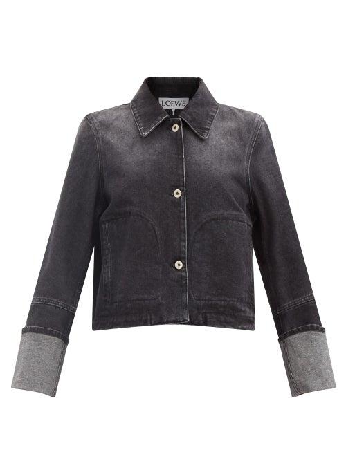 Loewe - Cropped Denim Jacket - Womens - Black