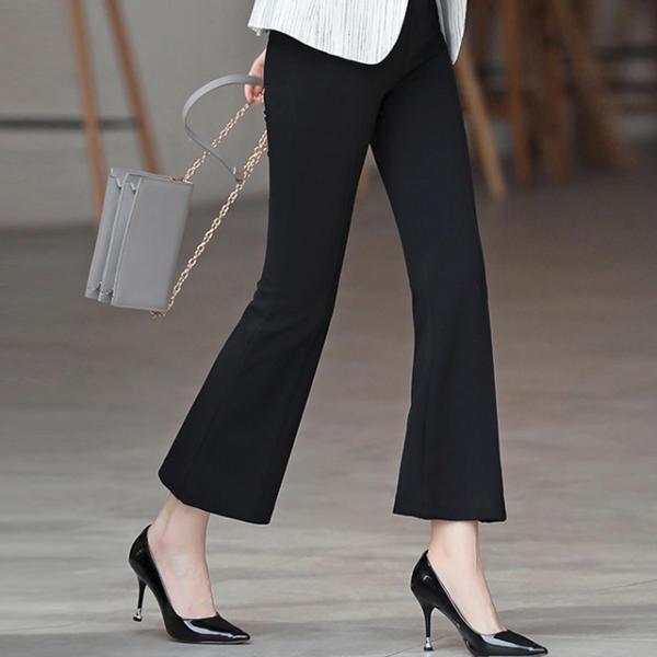 [Shinzikatoh] 女性喇叭褲半正裝褲子 瘦款 靴子裁剪 寬鬆褲子 職業裝 女士長褲 春夏秋 黑色
